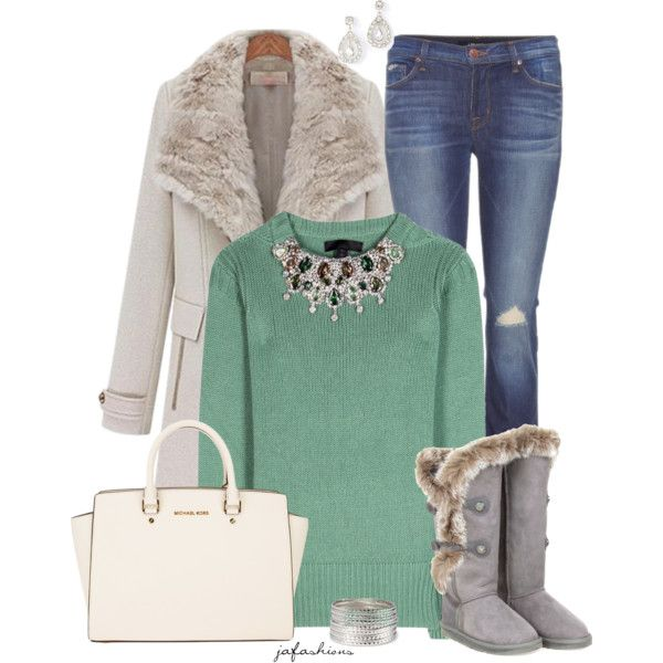 """Green Embellished Sweater"" by jafashions on Polyvore"