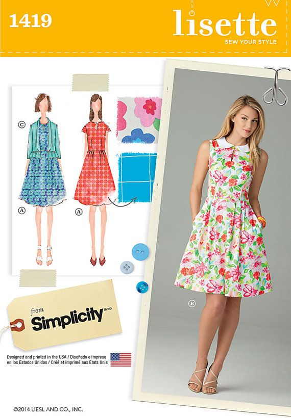 Lisette Dress Pattern Simplicity 1419 by PatternParlor on Etsy
