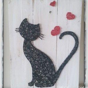 Cat Silhouette Love - String Art                                                                                                                                                                                 More
