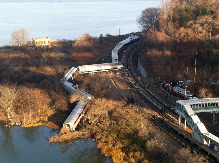 Cars from a MetroNorth passenger train are scattered