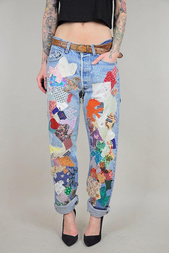 70's LEVI'S Patchwork BOYFRIEND Jeans Faded by NOIROHIOVINTAGE