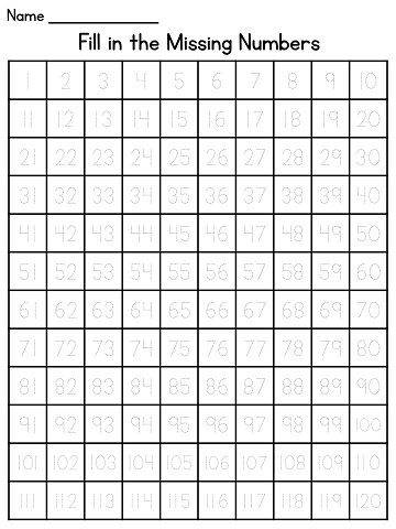 Tracing numbers 1-120 worksheets for students who need extra help writing…