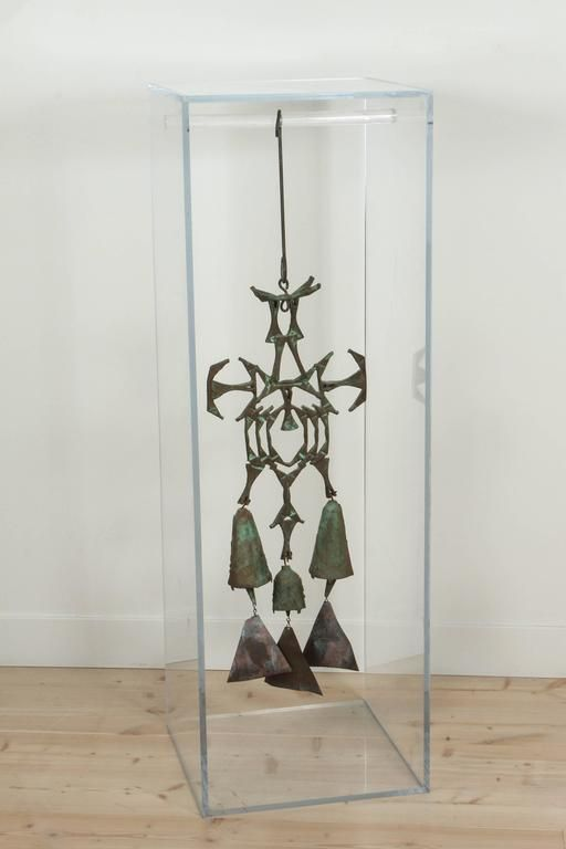 Cast Bronze Figural Three Bell Sculpture with Acrylic Display Case For Sale at 1stdibs