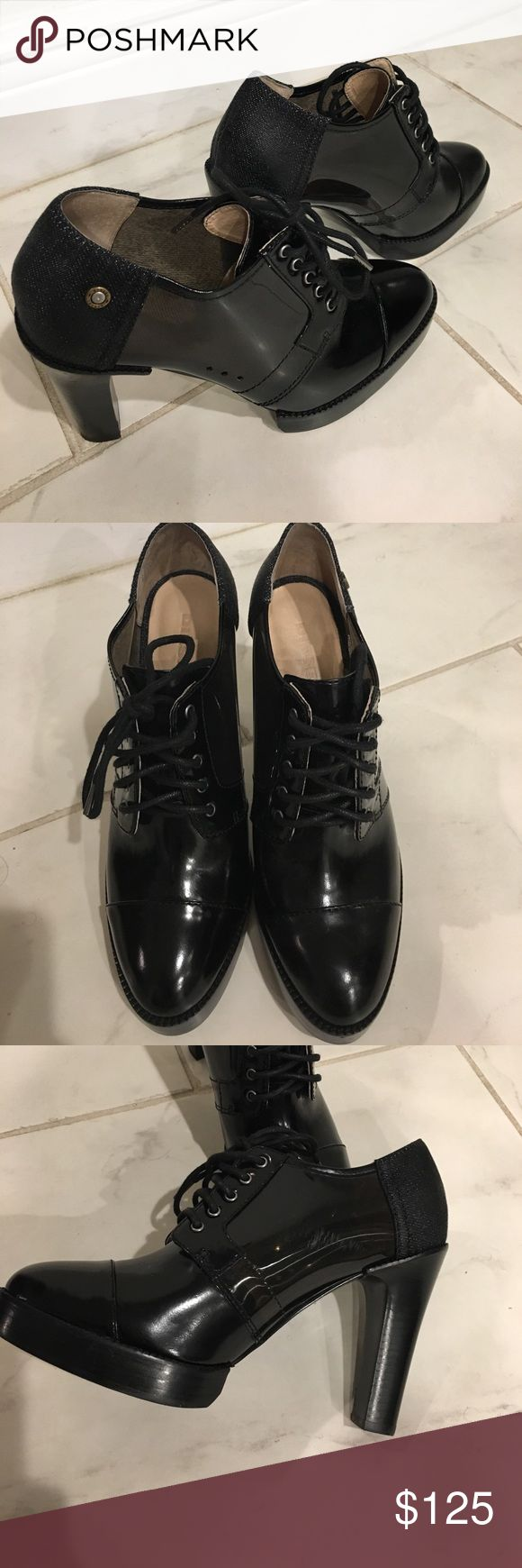 Shoes Gorgeous 3in diesel heels. Almond toe black. Clear in center of shoe. Size 38 euro. 8 us. Great condition wore only once. Minimal wear. Diesel Shoes Heels