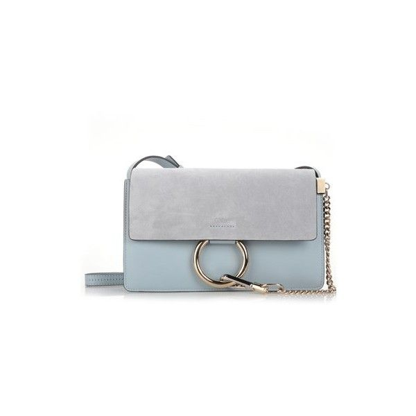 CHLOE' Fresh Blue 'Faye' Small Shoulder Bag ($1,138) ❤ liked on Polyvore featuring bags, handbags, shoulder bags, light blue, blue handbags, light blue shoulder bag, chloe purses, chain purse and shoulder strap bags