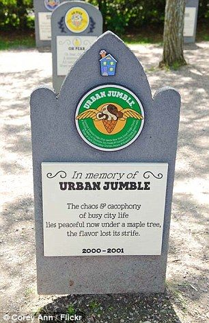 In memory of Urban Jumble: The chaos & cacophony of busy city life lies peaceful now under a maple tree, the flavor lost its strife. 2000-2001: Ben & Jerry's Flavor Graveyard, Waterbury, VT
