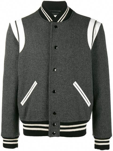 SAINT LAURENT Varsity bomber jacket.  saintlaurent  cloth     leatherjacketsformengrey e1ed10bf08f7