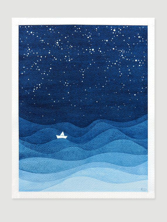 Nautical wall decor. Lonely ship at sea in the starry night - original watercolor painting. Whimsical kids illustration of white sailboat. Blue navy