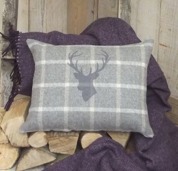 ' Stag's Head ' Luxury Tweed Wool Cushion