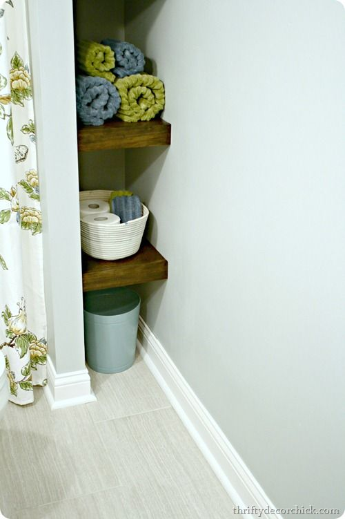 DIY wood shelves in bathroom @ thriftydecorchick.com --- ensuite above toilet