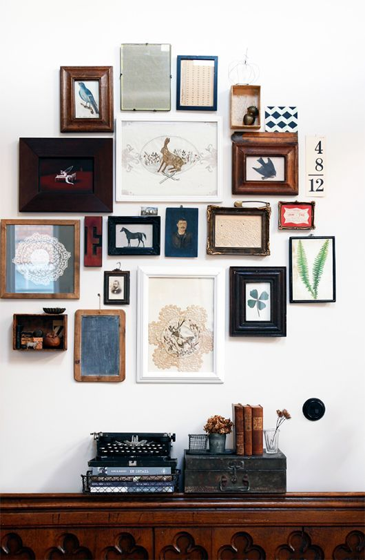 A beautiful collection, varied in media. / 5 Steps to the Perfect Gallery Wall