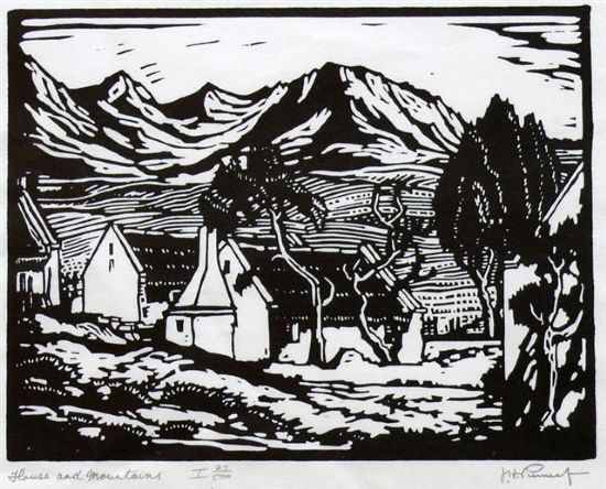 JH Pierneef, Linocut, 225 x 275mm, House and Mountains