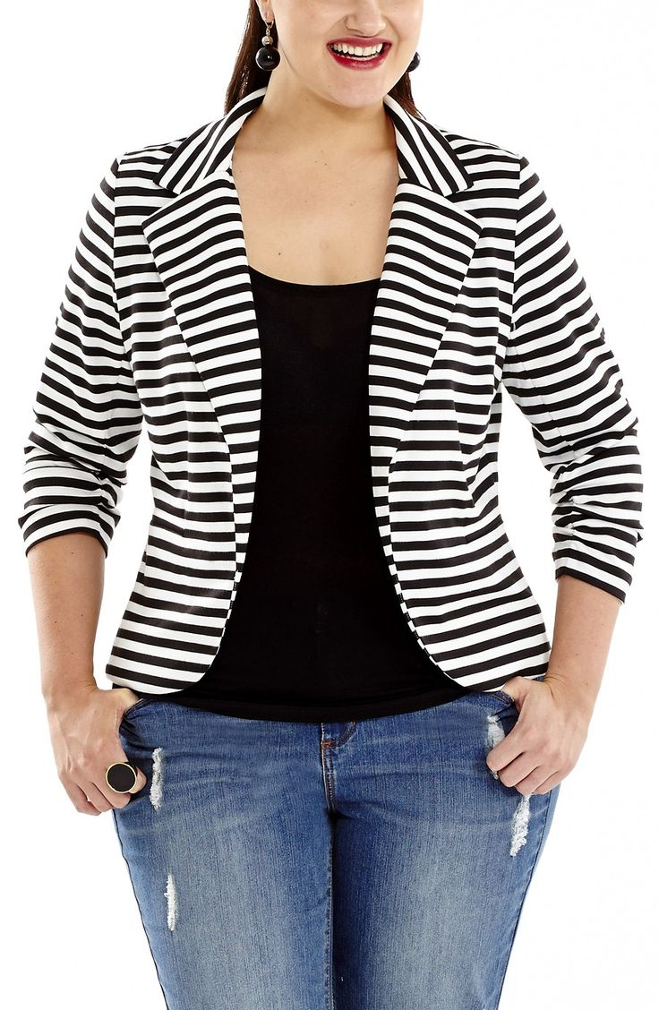 Striped Jacket black/white Style No: JK11106 Stretch ponti knit fabric striped jacket. This cute jacket has 3/4 ruched sleeves. This jacket is unlined and has a lapel front and 2 front pockets. #dreamdiva #plussize