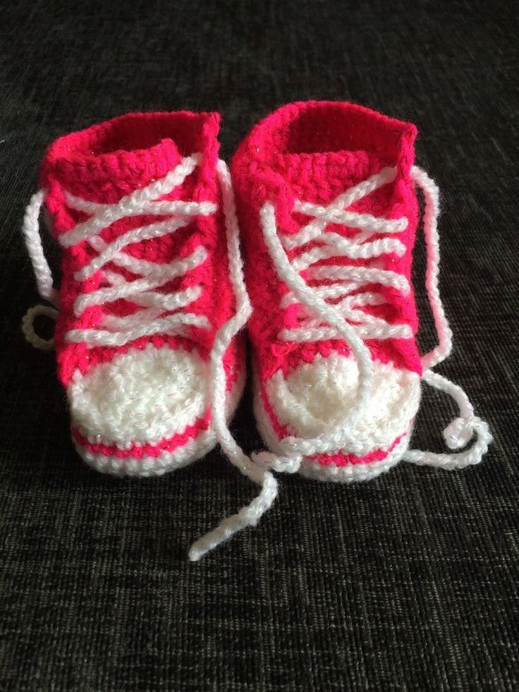 Handmade Crocheted Sparkling Pink  Converse  Style Baby Booties