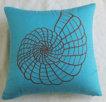 turquoise blue throw pillow with brown shell embroidery: Brown Shells, Turquoise Blue, Tropical Home, Blue Throw Pillows, Sea Shells, Living Rooms, Turquoi Blue, Nautical Pillows, Shells Embroidery