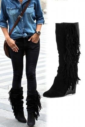 Casavie Tiffany Püsküllü Dolgu Topuk Siyah Çizme: Lidyana.com