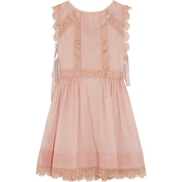REDValentino Crochet-trimmed cotton-voile mini dress found on Polyvore featuring dresses, vestido, pink, scalloped dress, rose dress, cotton voile dress, rose pink dress and scallop trim dress