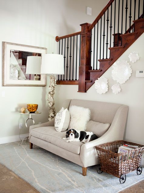 love the sofaPerfect Dogs, Logs Baskets, Cozy Corner, Reading Nooks, Perfect Room, Inspiration Perfect, Arts And Crafts, Front Room, Rugs
