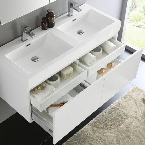 Fresca Mezzo White 48 Inch Wall Hung Double Sink Modern Bathroom