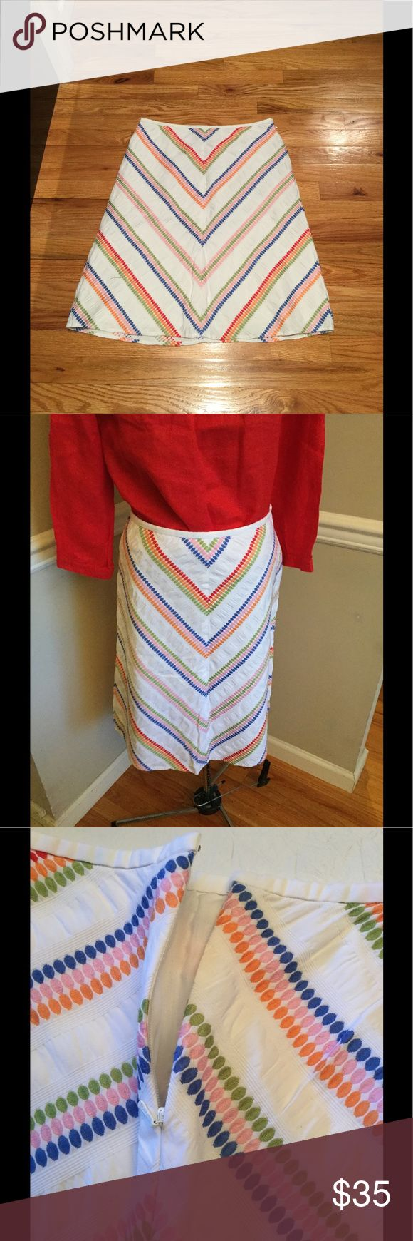 💓Talbots cotton lined A-Line Fabulous Skirt💓 What a fabulous skirt lined in cotton beautiful details . Side hidden zipper with hook and eye closure. Excellent condition. Too small for me but love this skirt! Size 8. Smoke free closet. No damages. Like brand new condition,  waist 15; hips 21 1/4; length 23 3/4 inches. Talbots Skirts A-Line or Full