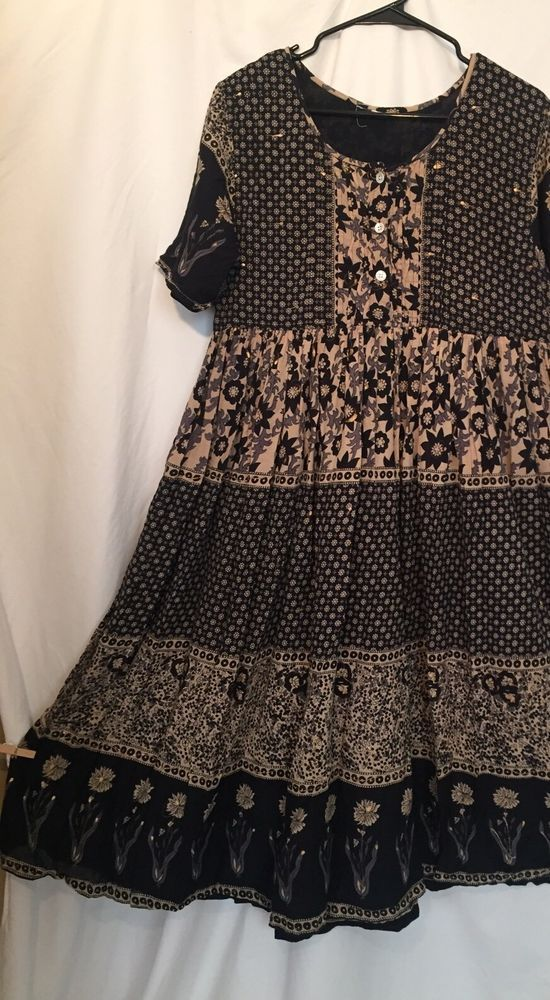 Indian Cotton Gauze Dress Hippie Boho Flowy Earthy Floral Baby Doll - Gorgeous w/ tiny bursts of gold throughout
