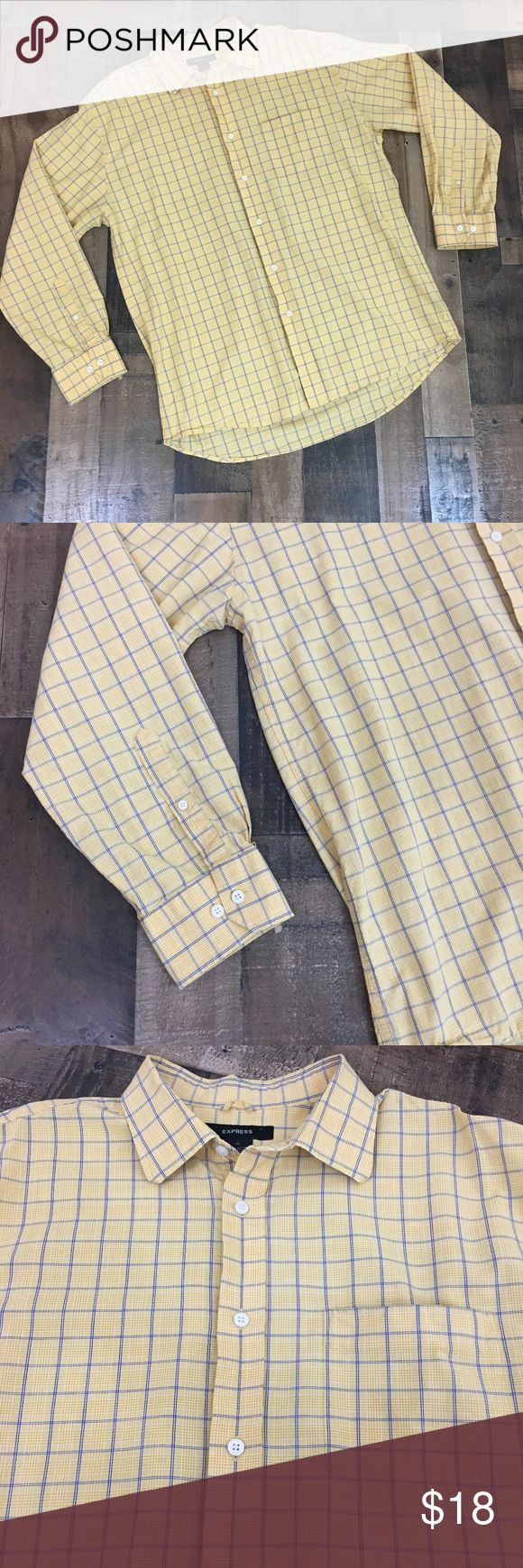 Express Men's Long SleeveButton Down Size XL Express men's long sleeve button down collar shirt  Size: XL Style: Button down Color: Yellow and blue Material: 100% Cotton Condition: In excellent used condition with plenty of useful life left.  Measurements Bust (Armpit to Armpit): 26in Sleeve Length: 25in Length – Back (Top to Bottom): 35in   From a smoke and pet free home, offers welcome. HAPPY POSHING!!!  Item #: A55P083 Express Shirts Casual Button Down Shirts