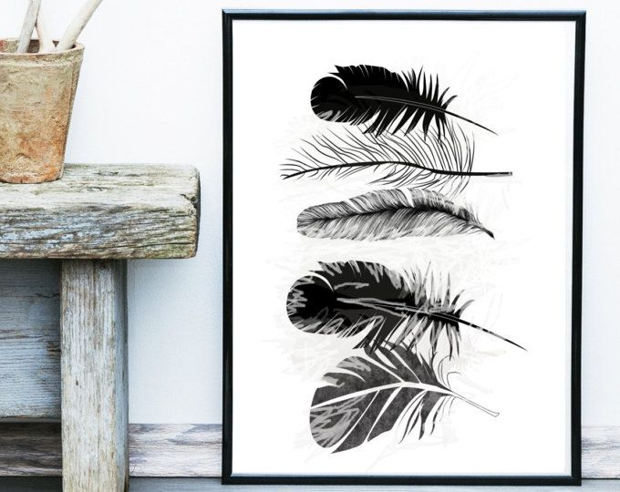 plumas de impresin arte imprimible plumas negro pluma arte arte escandinavo