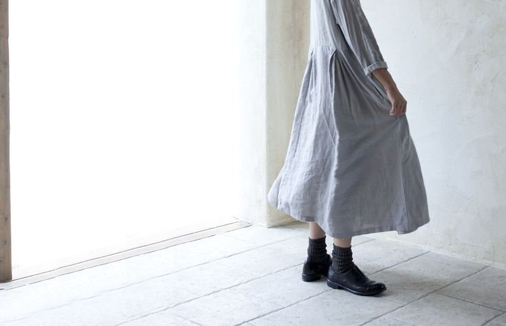Natural Dyed Linen Gather Tuck Dress