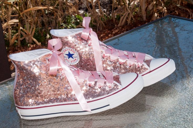 Adorable rose gold sequin Converse hi tops with ribbon laces. Perfect for weddings!