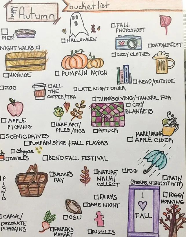 27 Autumny Fall Bullet Journal Themes & Page Ideas To Try Themes for a fall bullet journal include things like autumn leaves, pumpkins & Halloween motifs, nature inspired doodles, and more. Bullet Journal Cover Page, Bullet Journal Themes, Journal Pages, Leaf Quotes, Leaves Doodle, History Taking, Doodle Borders, Capricorn And Aquarius, School Notes