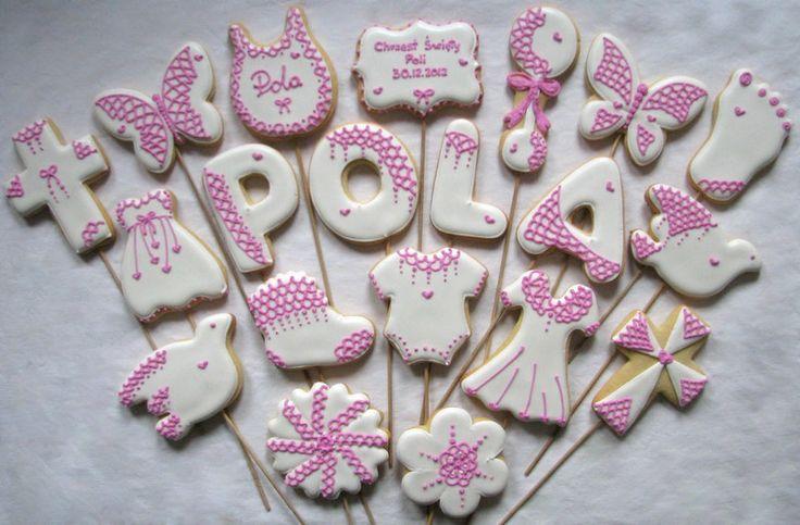 christening baby girl cookies