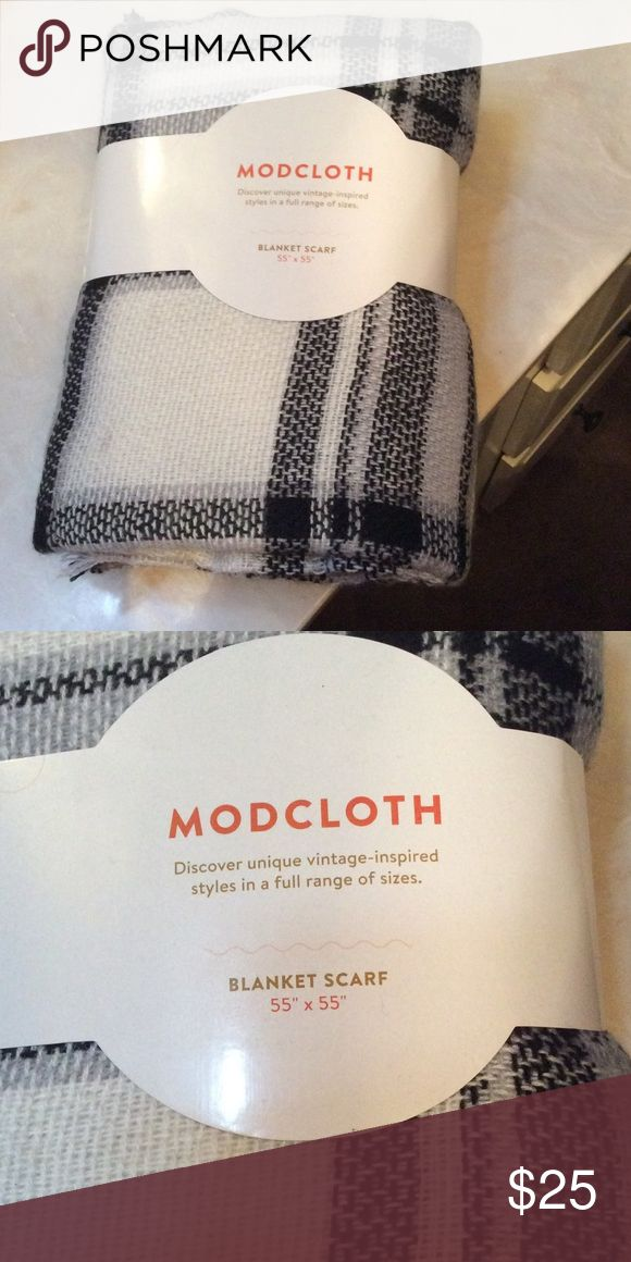 Modcloth Blanket Scarf Modcloth Blanket Scarf in off-white and black. 55 x 55. Never used. Still in original packaging. ModCloth Accessories Scarves & Wraps