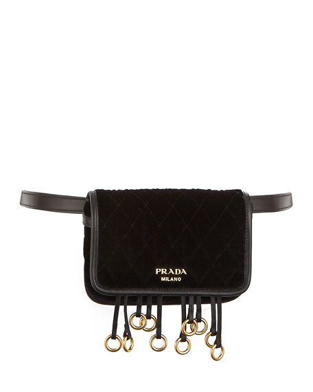 eec430c86a PRADA Quilted Velvet Belt Bag   Crossbody Chain