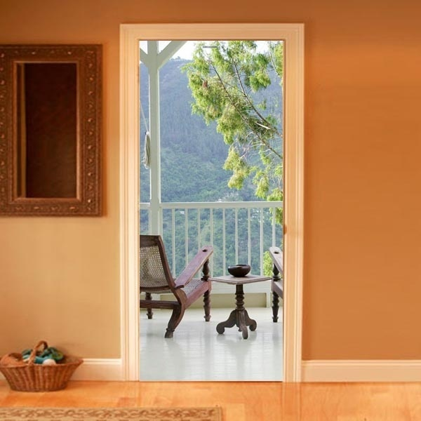 Trompe l 39 oeil balcony door decal inside pinterest for Door wall mural