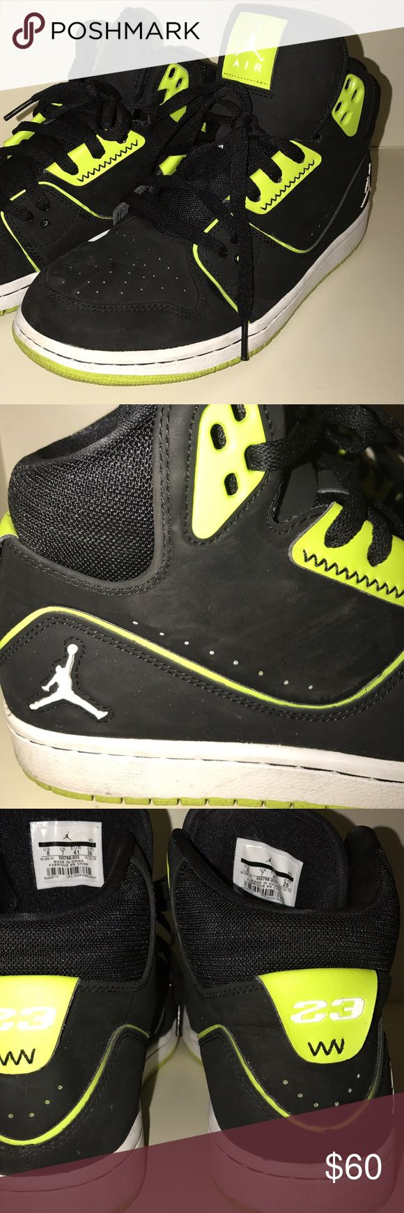 Nike Air Jordan Neon Shoes! Only worn once! In perfect condition, neon yellow and black Nike Air Jordans! Killer shoes. Super comfortable. Jordan Shoes Sneakers