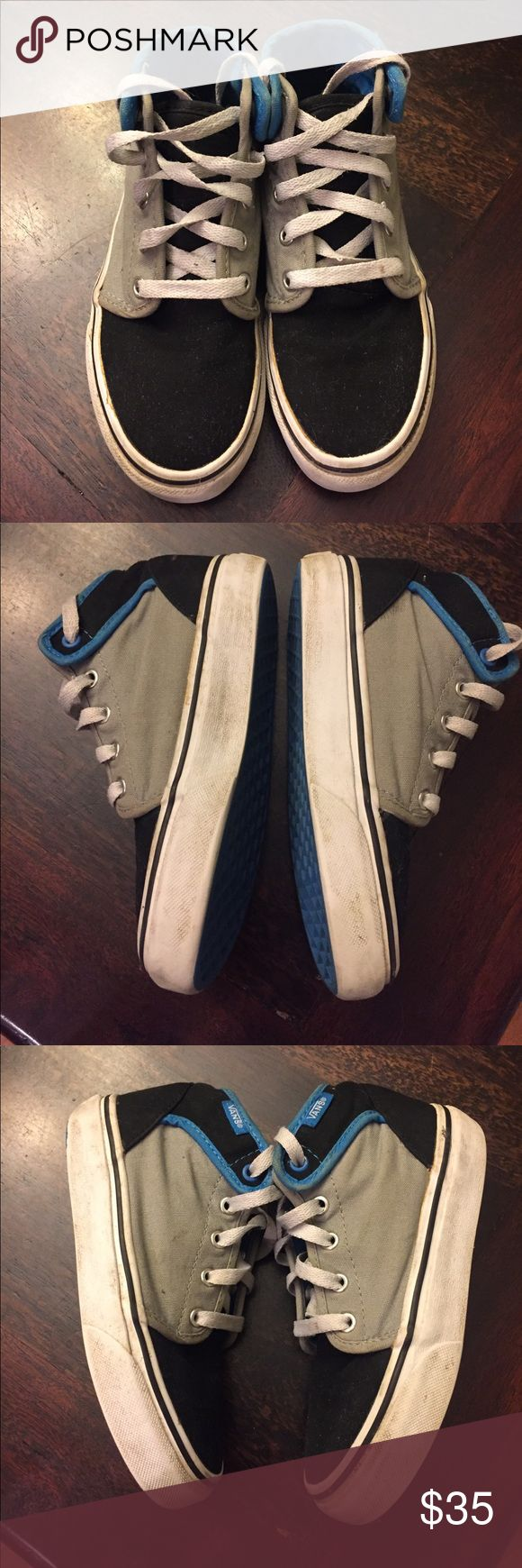 Boys Vans high-tops These are in very good condition! Were only worn a few times. Shoe laces could use a wash. Vans Shoes