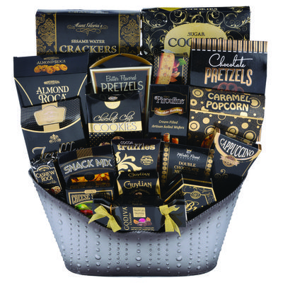 """Classic Collection: #Gifts #GiftStore #Ottawa#Baskets #Gourmet #CorporateGifts;Slick and sleek in a charcoal smoked bubbled decorative tin, fits in any decor filled with Gourmet Crackers, Cookies, Cheeses & Brie Spreads, Biscotti, Assorted Truffles and Roca's, simply delightful!"