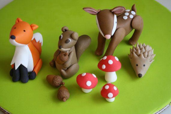 Fondant Woodland Animals Cupcake Topper Set by KimSeeEun on Etsy