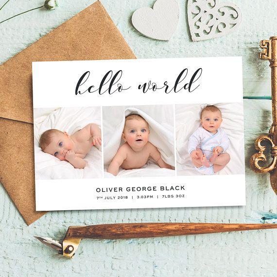 Hello World Birth Announcement Card