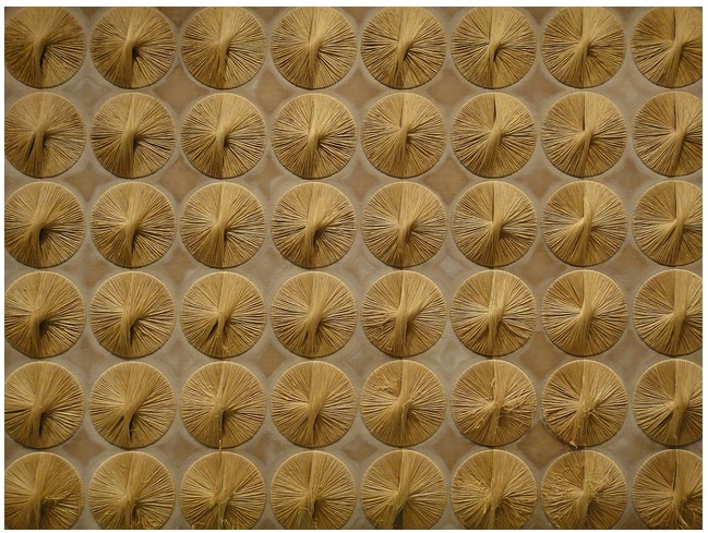NYC - Untitled [Ford Foundation Mural] by #Sheila #Hicks (1966) Silk, synthetic thread, linen, Hand-woven #fiber #weaving #people #gold