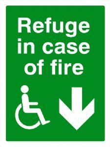 DDA Refuge in case of fire safety sign DOWN ARROW
