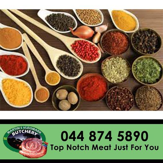 Spice up your favourite meat dishes with assorted spices available from Martin's Vleismark. #spices #butchery #martinsvleismark