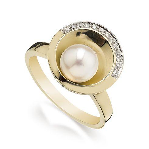 #Bijuterii cu perle Inel cu perla si diamante B805