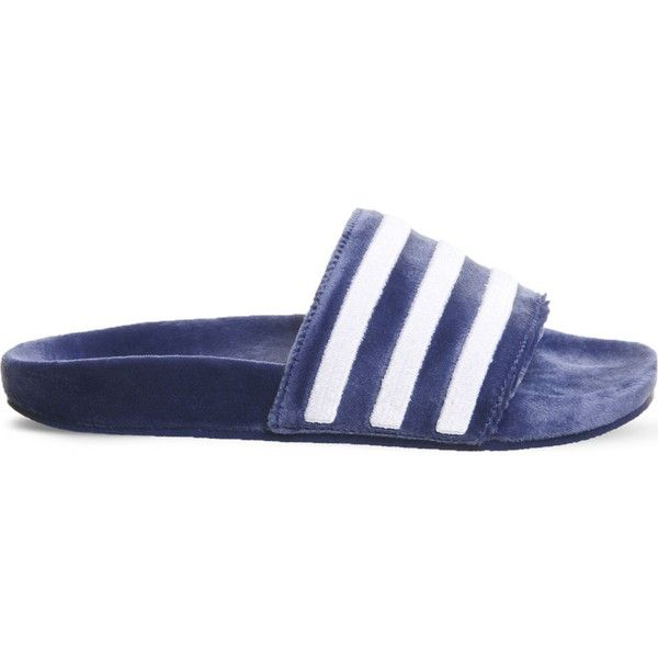 Adidas Adilette slides ($55) ❤ liked on Polyvore featuring shoes, pull on shoes, grip shoes, patterned shoes, adidas shoes and slip-on shoes