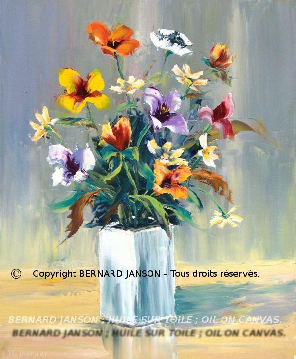 tableaux de peinture moderne huile sur toile au couteau bouquet de fleurs au vase blanc. Black Bedroom Furniture Sets. Home Design Ideas