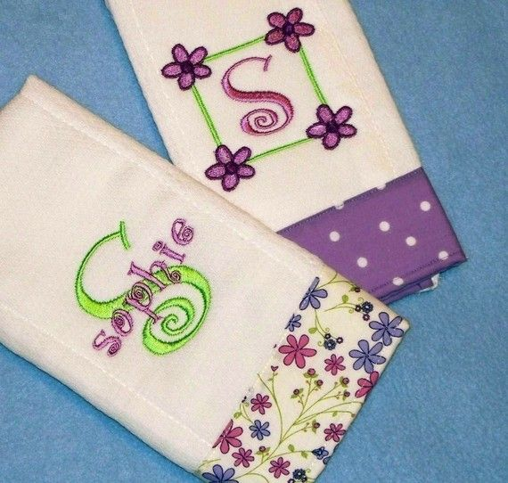 i like the idea of fabric on the bottom of burp cloth, with letter above it. this stuff is too country crap for me, but we could plagiarize