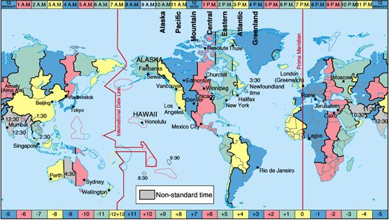 A simple time zone map.  When Kiribati changed its time zones in 1995, to put the whole country west of the International Date Line, it made the line look like a giant axe in the middle of the Pacific.