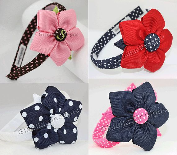 Personalized Ribbon Flower headband/ Customize your own flower Headband / you pick the color.