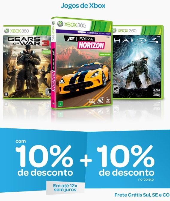 Somente hoje você compra jogos de Xbox 360 com até 20% de desconto, são 10% aplicado ao valor dos games e + 10% se pagar com boleto bancário à vista. Aproveite!