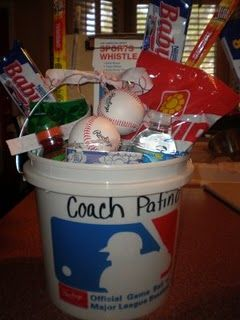 Baseball gift for coach, team mom, parent volunteers or fill this up with enough stuff for every member on the team for opening day. I wonder if i could do with with wrestling stuff!!!